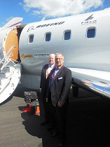 L-R. Field Aviation's Chief Commercial Officer, Brian Love and President and CEO, John Mactaggart in front of the new Boeing MSA, making it's public debut at the Farnborough Air Show.